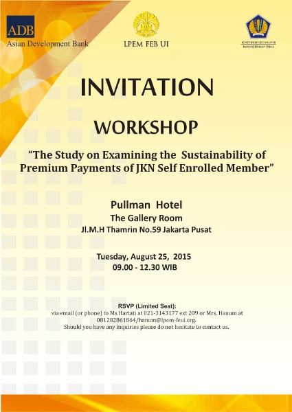 Invitation Workshop Institute For Economics And Social